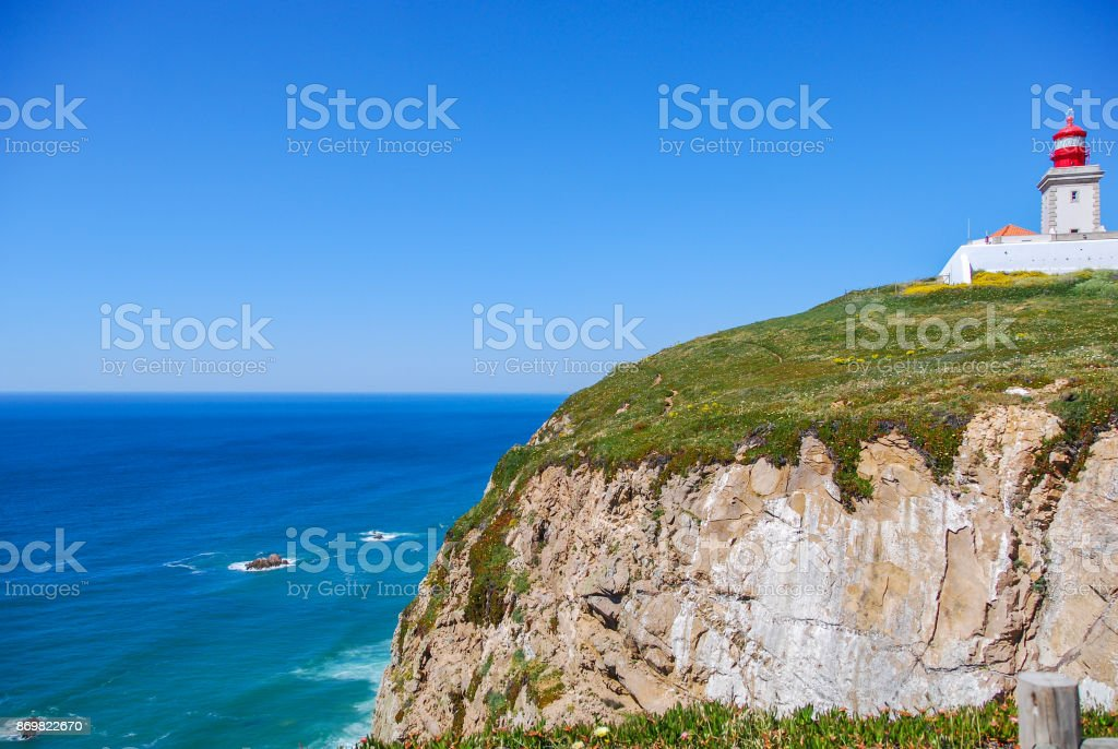 Cape Roca, Portugal lighthouse stock photo