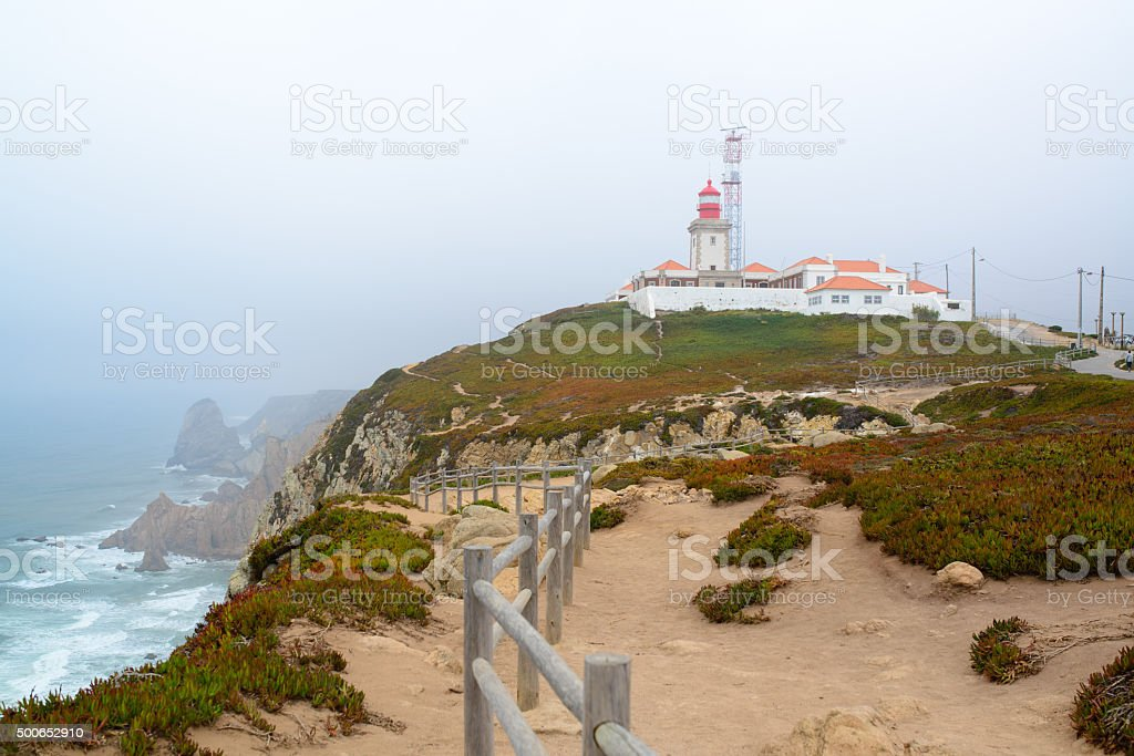 Cape rock is the endpoint of Portugal stock photo
