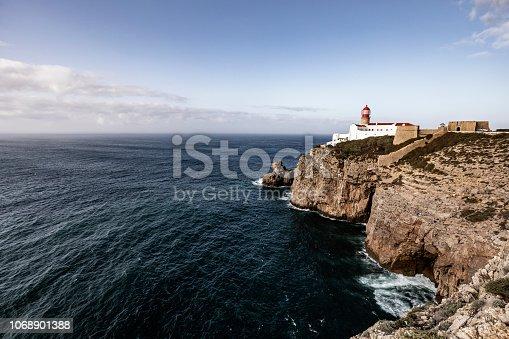 Cape Sao Vicente lighthouse Algarve Portugal