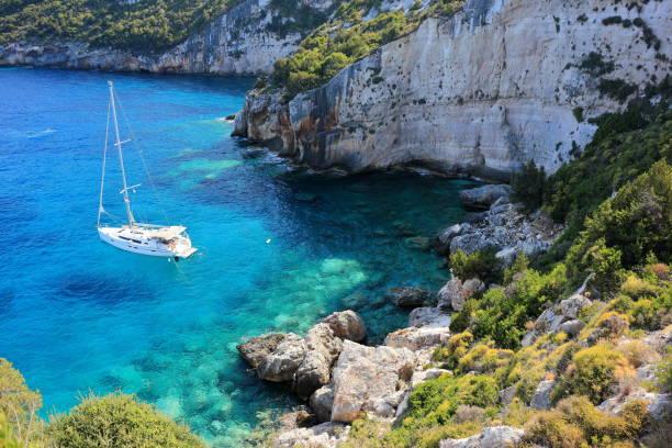 Cape Skinari. North coast of Zakynthos or Zante island, Ionian Sea, Greece. stock photo