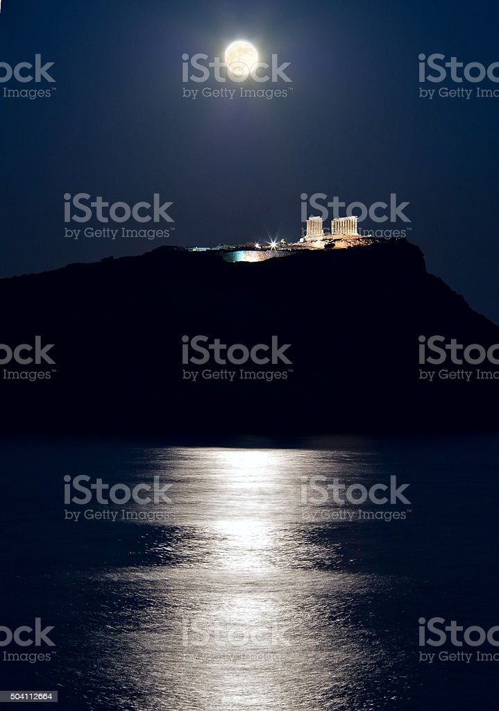 Cape Sounion, Poseidon's temple, Attica, Greece, moonlight stock photo