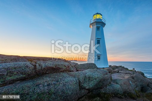 Stock photograph of the landmark Cape Spear Lighthouse near St John's, Newfoundland, Canada. Cape Spear is the most easterly point in Canada.