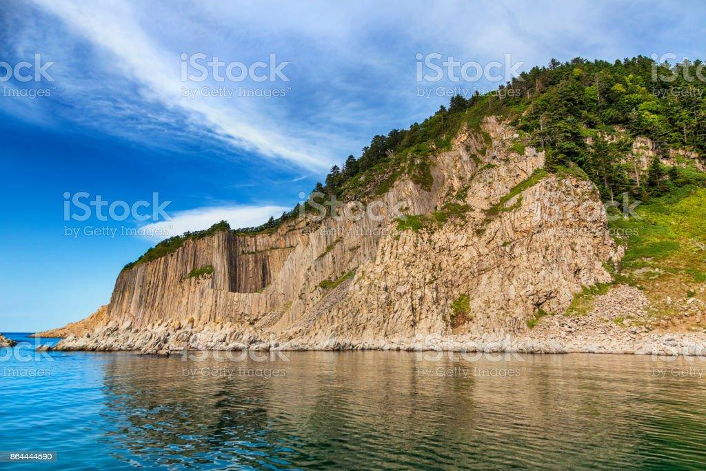 Cape Stolbchaty, Kunashir island, Russia stock photo