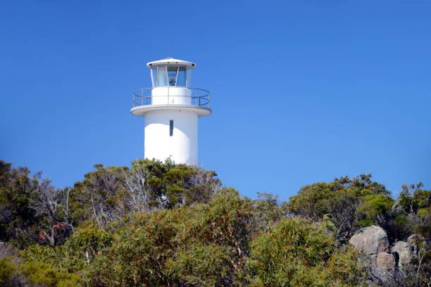 Cape Tourville Lighthouse in Freycinet National Park in Tasmania, Australia stock photo