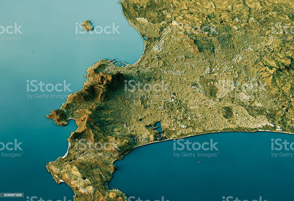Cape Town 3d Landscape View Southnorth Natural Color stock photo