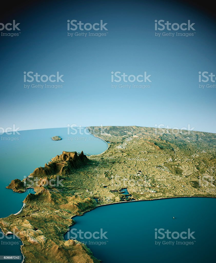 Cape Town 3D View South-North Natural Color stock photo