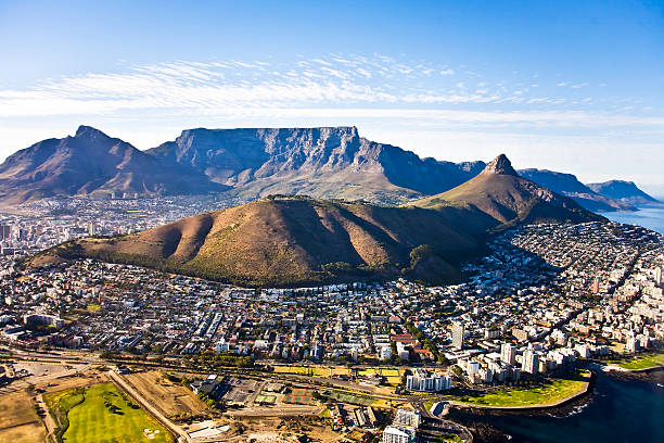 cape town aerial, south africa - table mountain south africa stock pictures, royalty-free photos & images