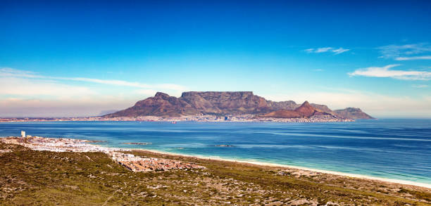 cape town and table mountain aerial panoramic view from bloubergstrand coast - table mountain national park stock pictures, royalty-free photos & images