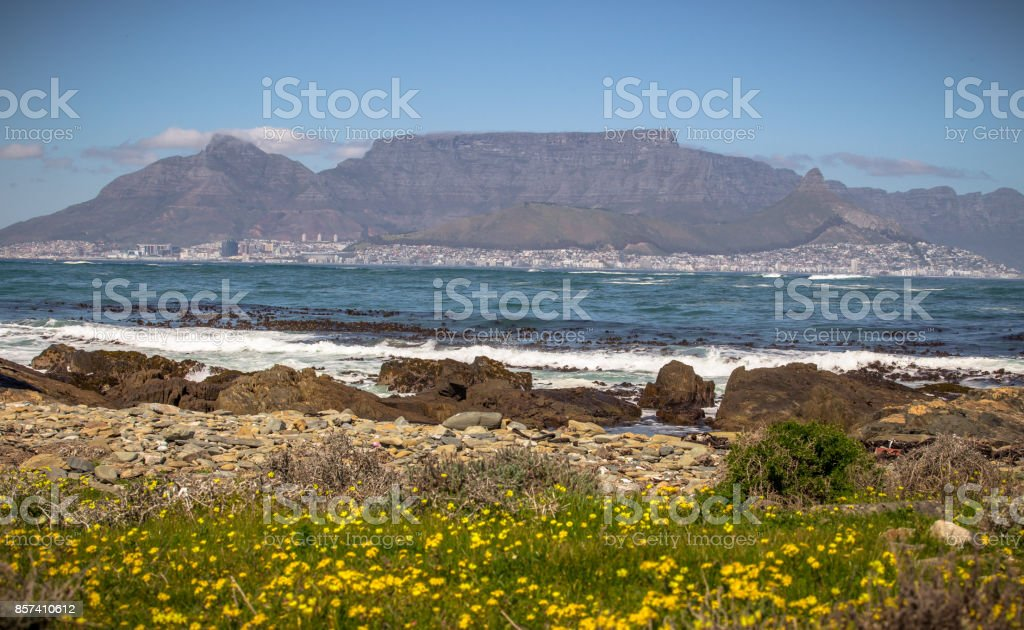 Cape Town and Table Mountain stock photo