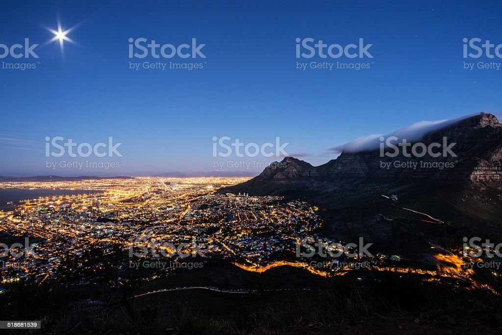 Cape Town at Night Cityscape Panorama stock photo