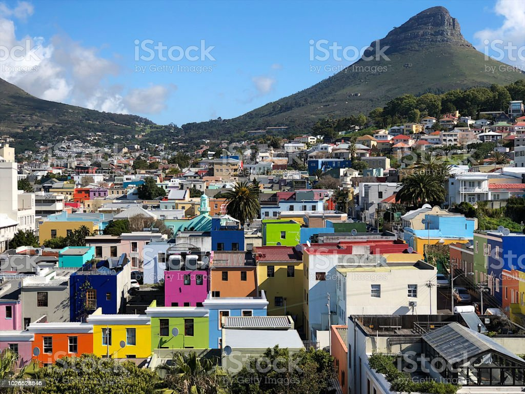 Cape Town Bo Kaap Colourful Historic Area with Lion's Head stock photo