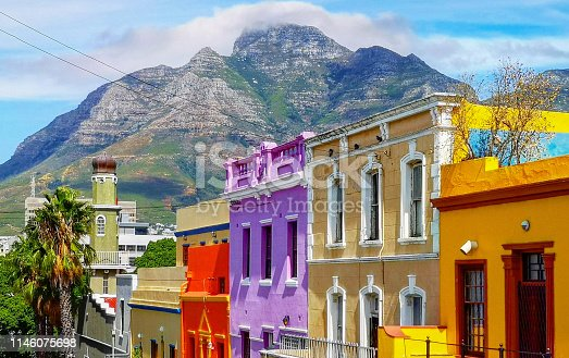 istock Cape town Bo Kaap Malay quarter rooftops with table mountain in the background 1146075698