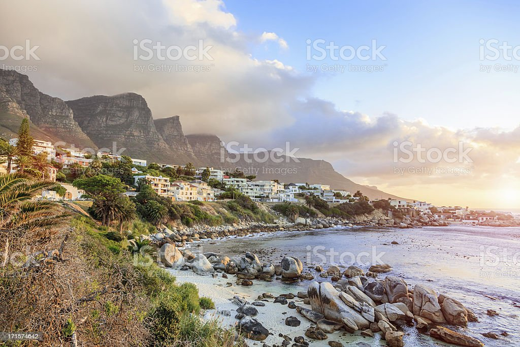 Cape Town Camps Bay Sunet South Africa stock photo