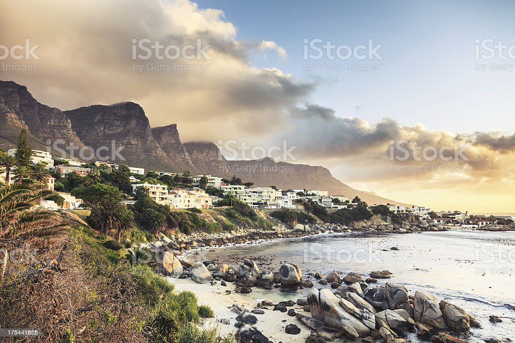 Cape Town Camps Bay Sunset South Africa stock photo