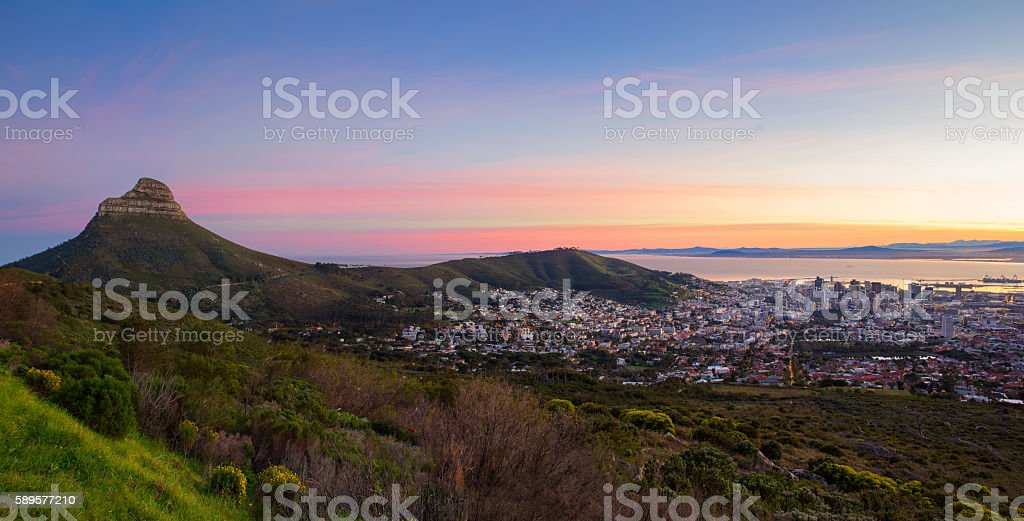 Cape Town city bowl and Lion's Head at sunrise stock photo