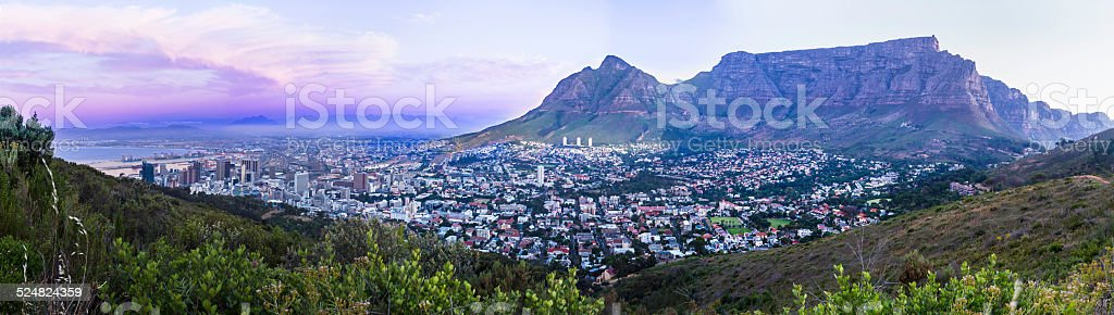 Cape Town city panorama with its green mountains stock photo