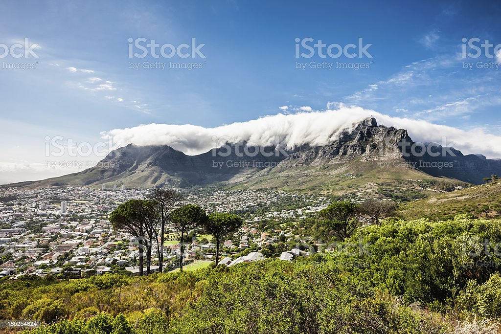 Cape Town City under Table Mountains stock photo