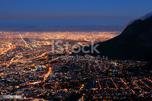 Cape Town cityscape South Africa twilight blue hour dusk city lights Table Mountain