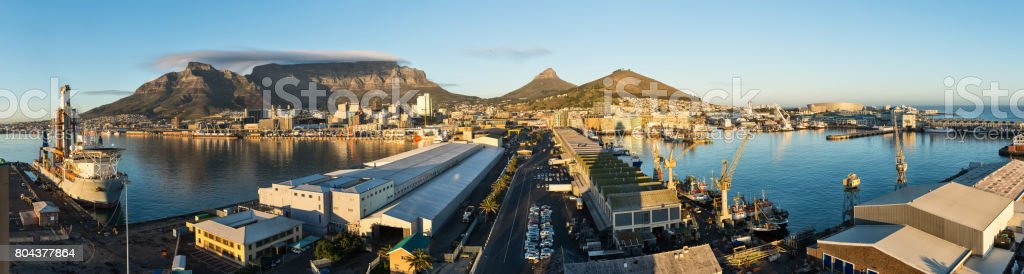 Cape Town harbour elevated panoramic view stock photo