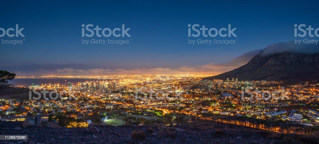 Cape Town Illuminated Night Panorama South Africa stock photo