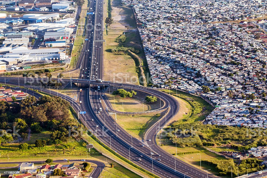 Cape Town M2 highway with Crossroads Township stock photo