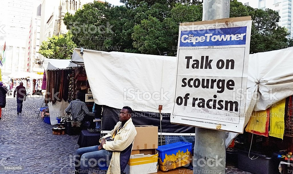 Cape Town newspaper promoting talk on 'scourge of racism' stock photo
