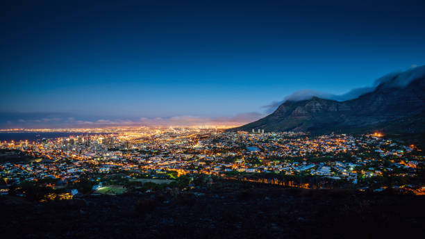 Cape Town Panorama at Night South Africa stock photo
