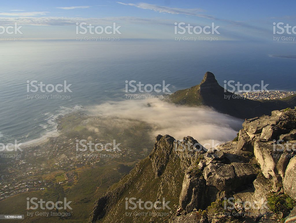 cape town View of cape town's camp bay and lions head from table mountain. Cape Town Stock Photo