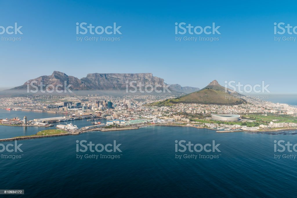Cape Town (aerial view from a helicopter) stock photo