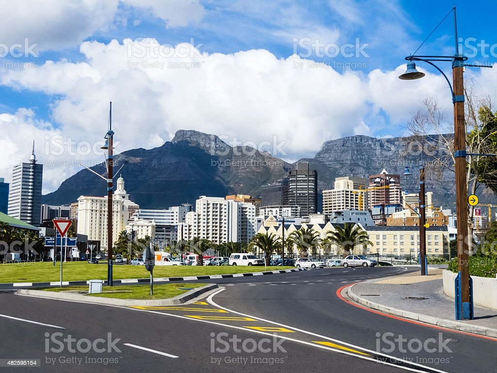 Cape Town skyline with Table Mountain in background, South Africa stock photo
