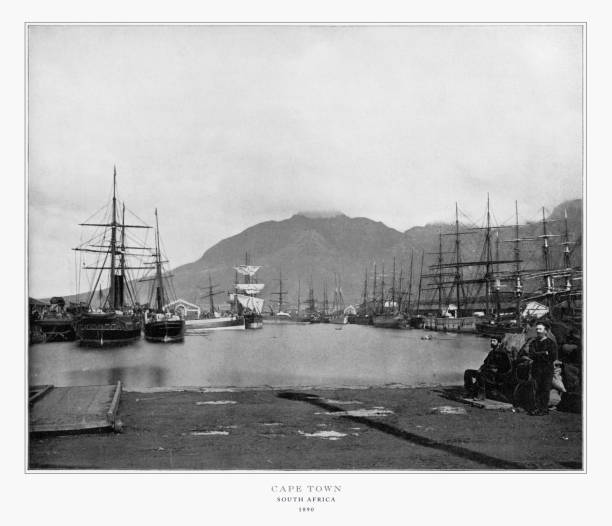 Cape Town, South Africa, Antique African Photograph, 1893 stock photo