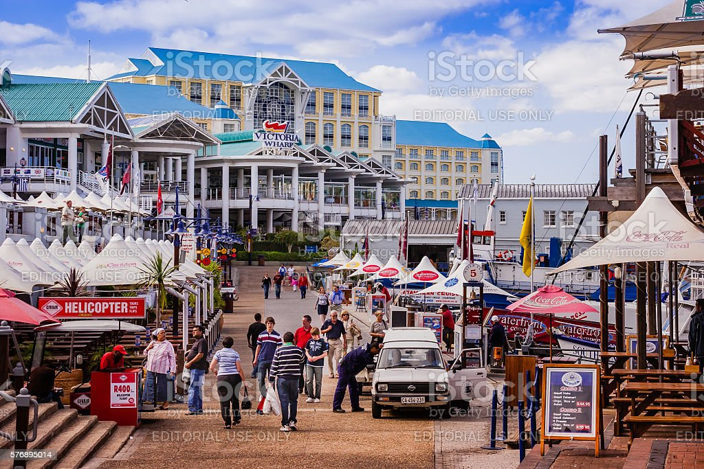 Cape Town, South Africa: Victoria Wharf in evening sunlight stock photo