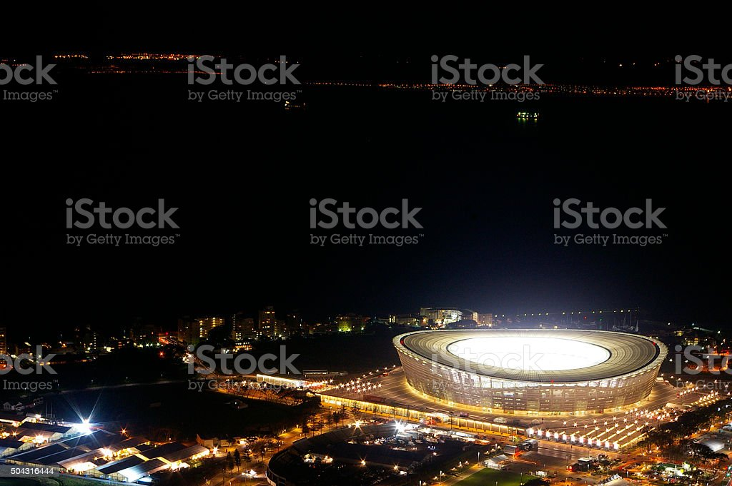 Cape Town Stadium at ni9ght stock photo