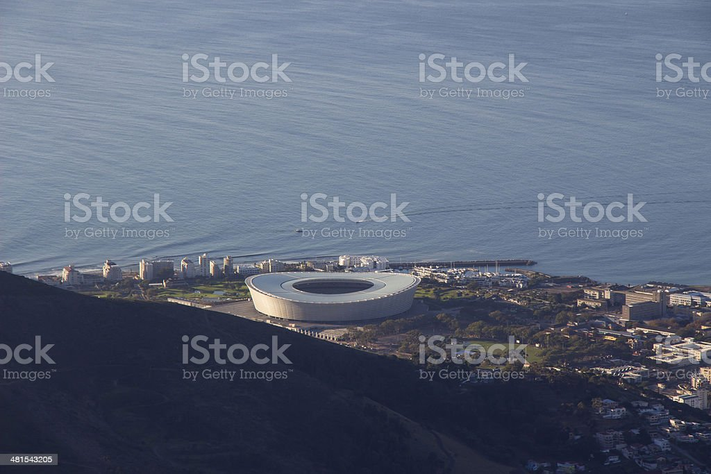 Cape Town Stadium from the top of Table Mountain stock photo
