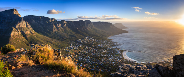 Cape Town Sunset Panorama Stock Photo - Download Image Now