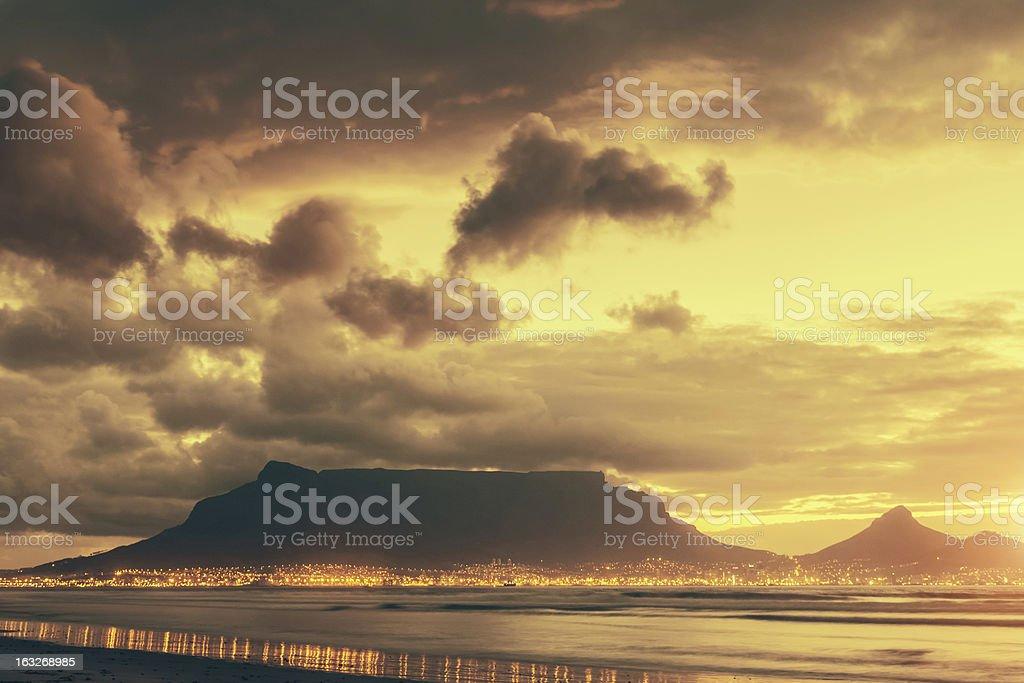 Cape Town Table Mountain Twilight Scene royalty-free stock photo