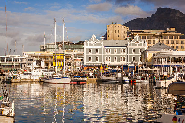 Cape Town Victoria and Albert Waterfront The Victoria and Albert Waterfront of Cape Town, South Africa promenade stock pictures, royalty-free photos & images