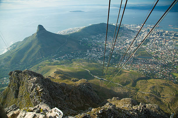 cape town view from table mountain - table mountain national park stock pictures, royalty-free photos & images