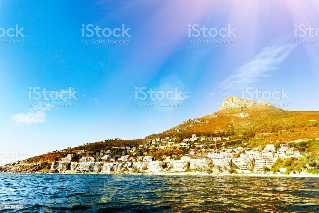 Cape Town's elite seaside suburbs seen from the sea stock photo