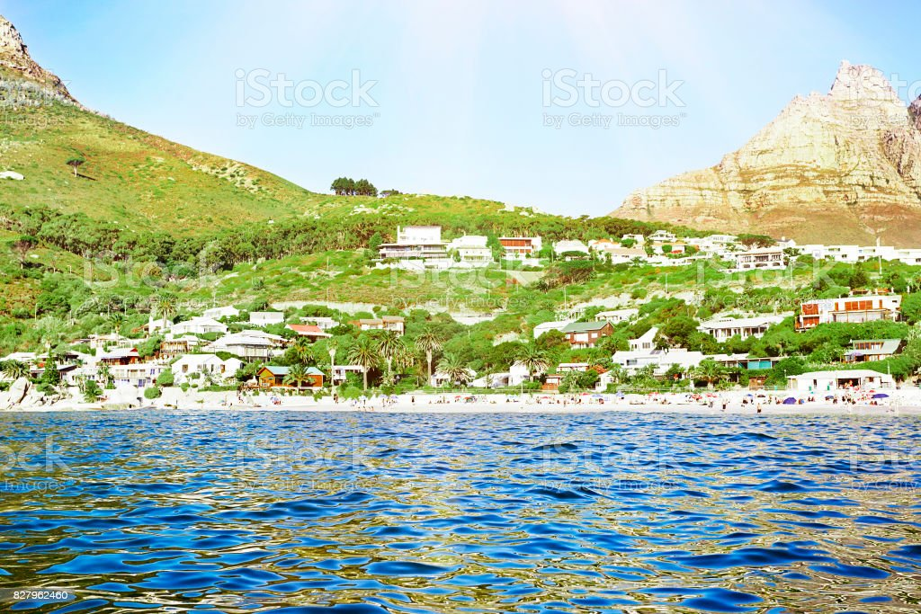 Cape Town's  seaside suburbs and beaches  seen from the sea stock photo