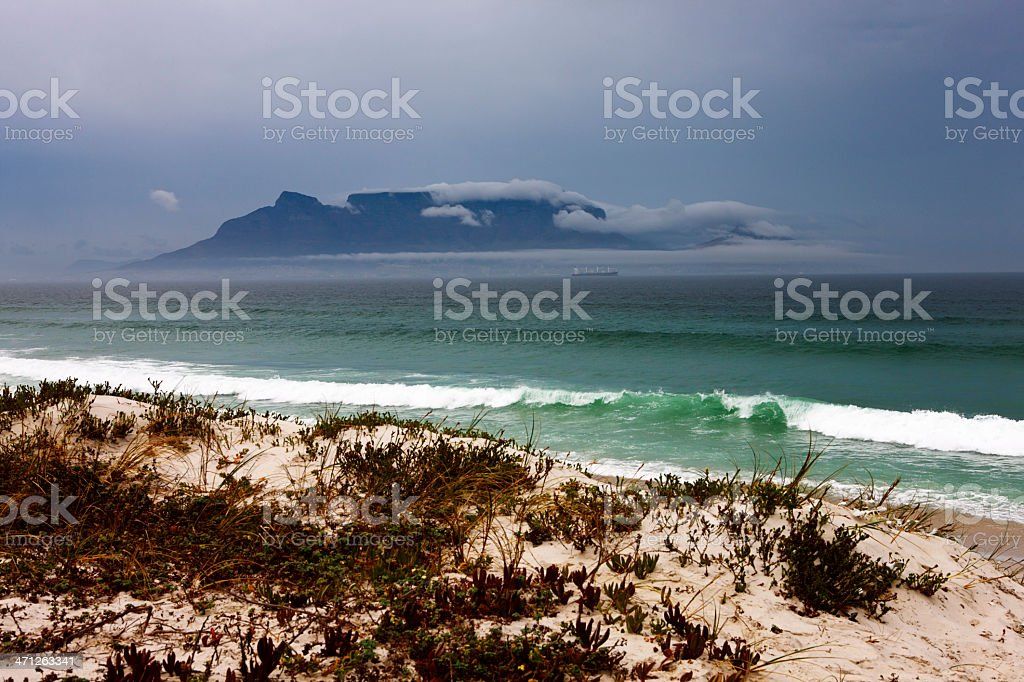 Cape Town's Table Mountain wreathed in clouds on winter's day royalty-free stock photo