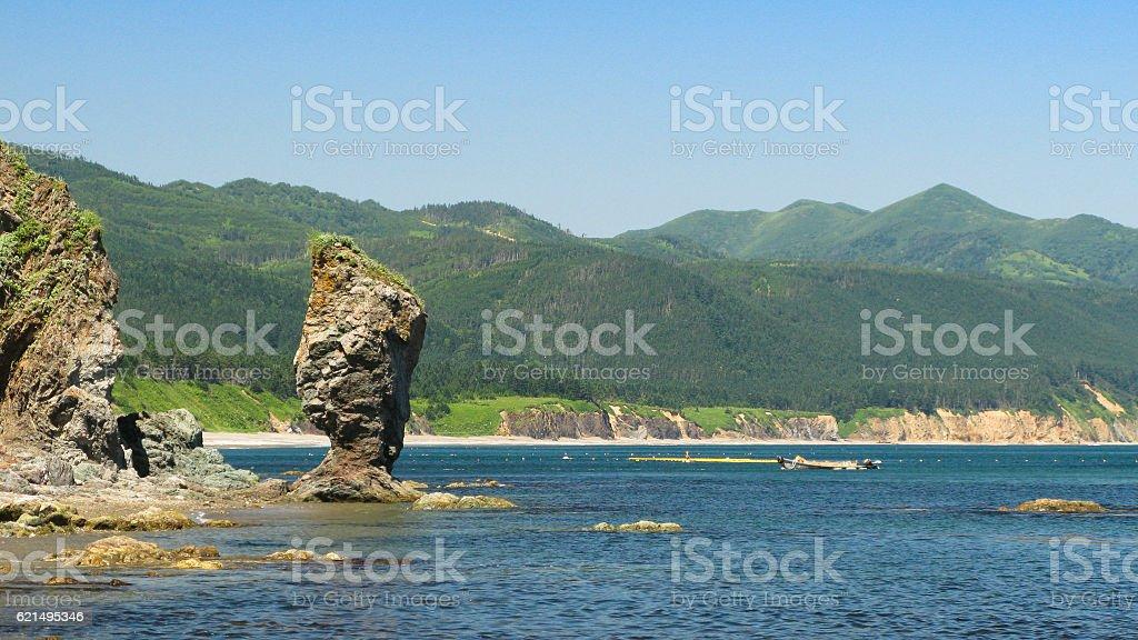 Cape Velikan, stone giant nature sculpture, Sakhalin Russia foto stock royalty-free