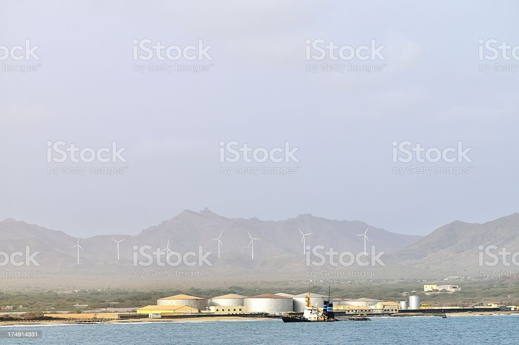 Cape Verde Wind Energy And Shipwreck stock photo