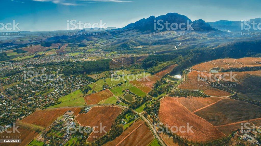Cape Winelands Autumn Scene stock photo