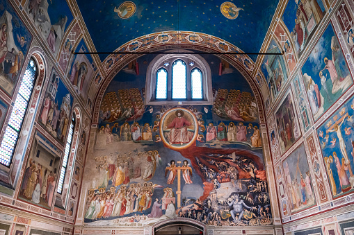 Padua, Italy August 17 2020: Capella degli Scrovegni Chapel with Fresco with Famous Paintings by Giotto