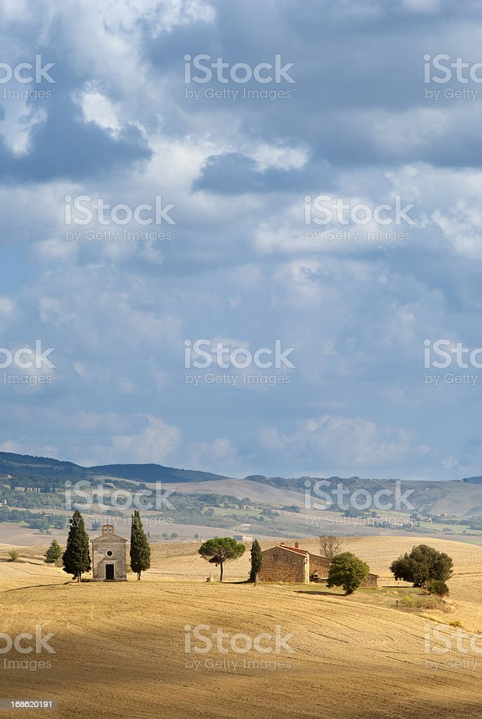 Capella di Vitaleta on a hill in Tuscany stock photo