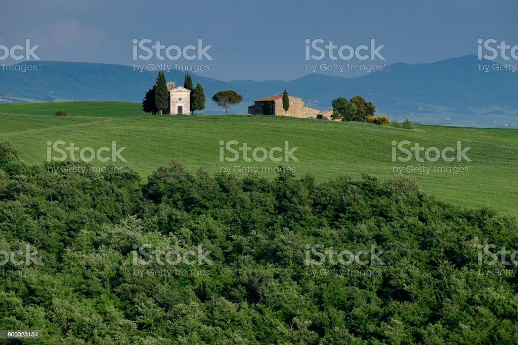 Capella di Vitaleta, Province of Siena, Italy stock photo