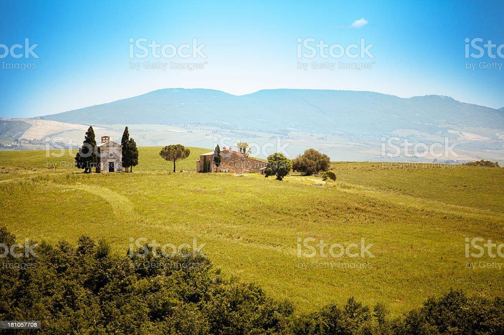 Capella di Vitaleta, Val d' Orcia, Tuscany, Italy royalty-free stock photo