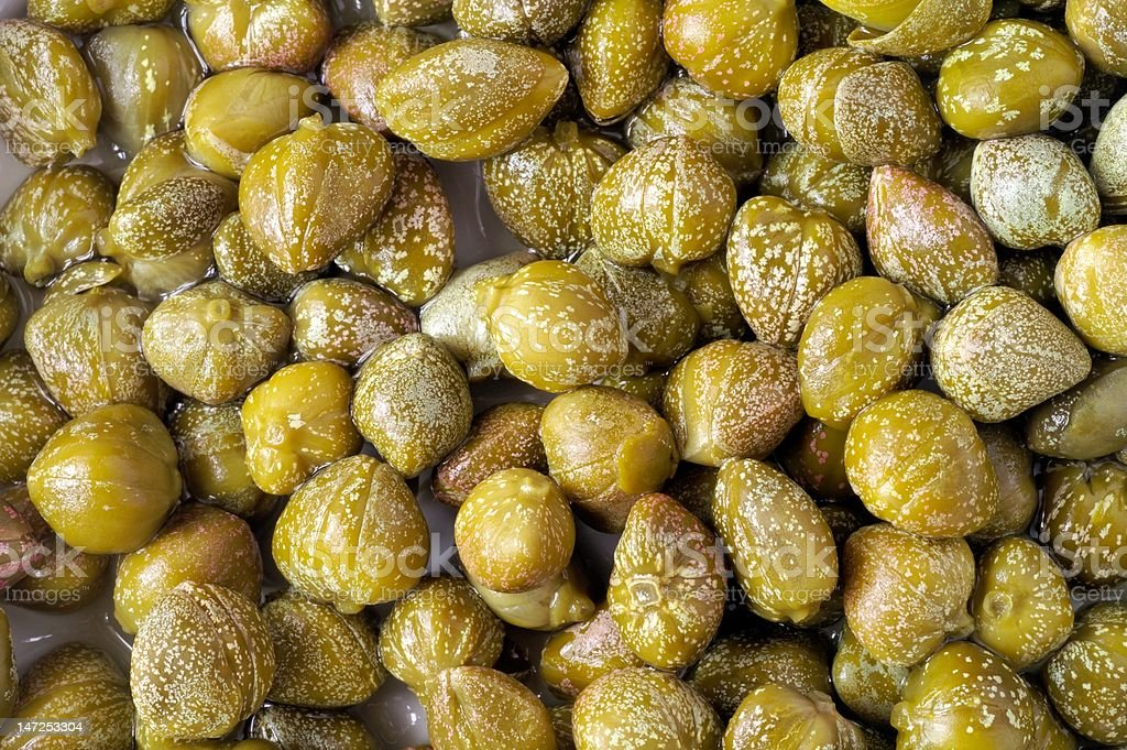 Capers closeup background stock photo