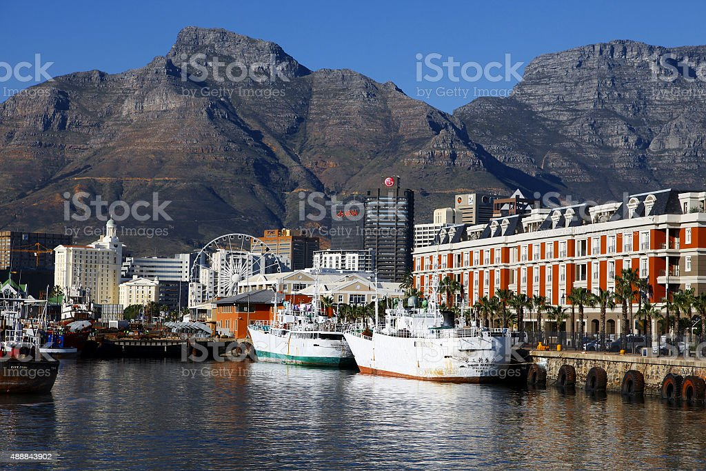 Capetown harbor views at sunset, South Africa stock photo